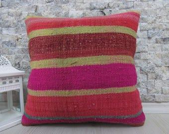 kilim pillow 14x14 turkish anatolian pillow case emboidered pillow pink colored pillow 14x14 kilim cushion handmade pillow