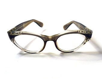 Vintage 50s Cat Eye Eyeglasses with Rhinestones and Art Deco Pattern