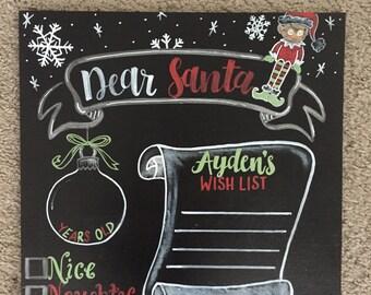Dear Santa Reusable wish List for Christmas Chalkboard