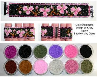 Midnight Blooms by Kristy Zgoda beaded bracelet kit (pattern sold separately)