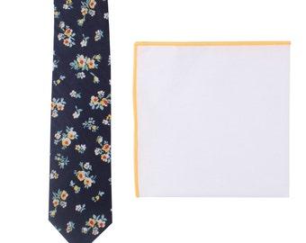 Floral Tie Navy Yellow Skinny Tie + Yellow Edge Pocket Square Set Semi Matching Set Mens Gift Groomsmen Tie Pocket Square Combo