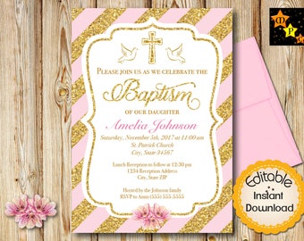 "Baptism Invitation, Girl, Pink and Gold Diagonal Lines, INSTANT download, EDITABLE in Adobe Reader, DIY, Printable, 5""x7"" each"