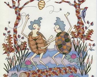 Turtle Girls Quirky Swamp Dance Illustration Art Print