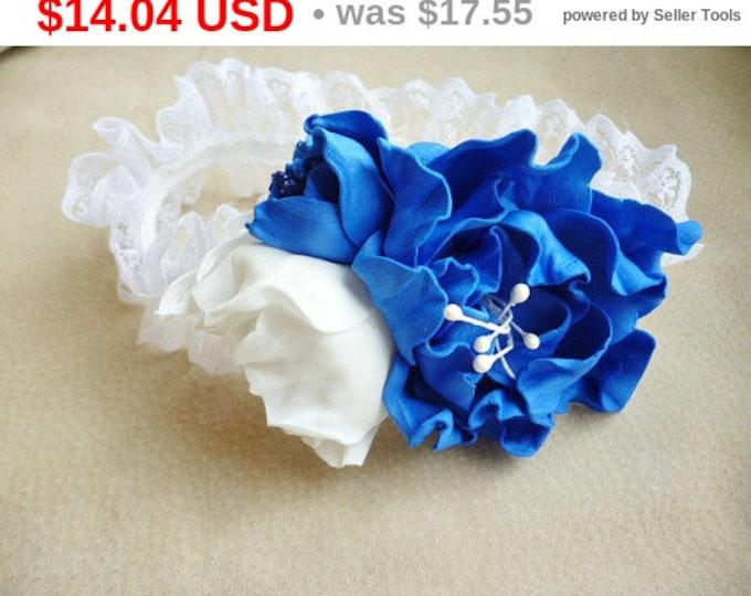 White Dark Blue Baby Headband White Dark Blue Flower Headband Baby Girl  Headband Christening Baptism Photo 7df1d327847