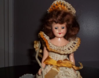 Vintage antique doll with crochet dress little bow peep