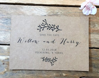 Rustic Save the Date Wedding Stationery, Personalised Digital PDF