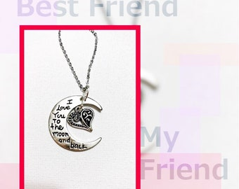 Silver Half Moon Necklace with Heart- I Love You To The Moon And Back Neclace - Silver Neckalce