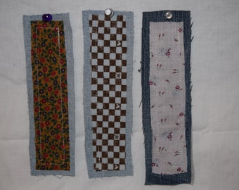 Set of 3 Denim and Cotton Cloth Bookmarks Hand Sewn