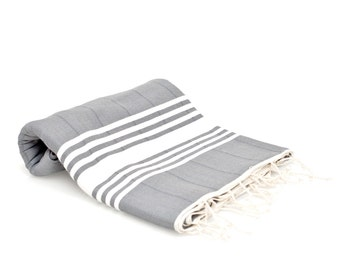 100% Cotton Large Turkish Bath Towel - Peshtemal - Fouta Towel - Beach Cover Up - Blanket - Gray