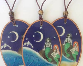 Skeleton Mermaid Ornament, Day of the Dead Art, Gift, Wedding Favors, Calavera, Tropical Beach, Dolphin, Sugar Skull