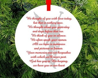 """In Memory Ornament """"Guardian Angel"""" Memorial Christmas Ornament Gift of Remembrance loved one -#GA24 - lovebirdschristmas"""
