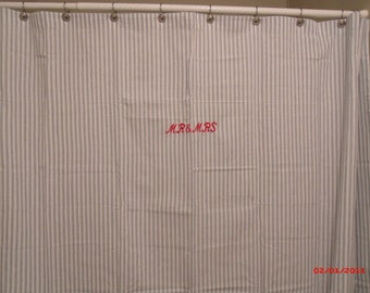 Mr and Mrs Embroidered Shower Curtain, Blue and White Ticking Stripe Shower Curtain, Cotton shower curtain