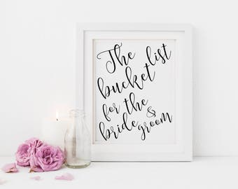 The bucket list for the bride and groom | Alternative guest book sign | Wedding bucket list sign | Bucket list wedding sign S2