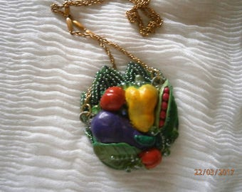 LOCKET in polymer resin, embroidered beads and crystals