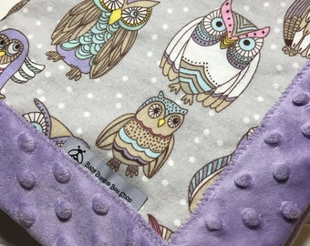 Baby Lovey Blanket - Owls- Flannel and Minky - Security Blanket- Mini Blanket- 19 x 19 -Baby Gift
