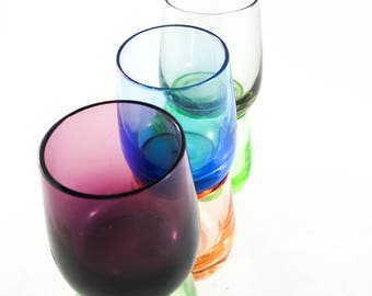 Mid Century multi colored Shot Glasses