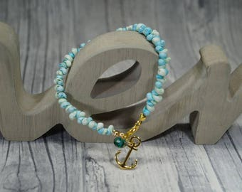 """""""Anchor"""" Turquoise and white shell bracelet"""