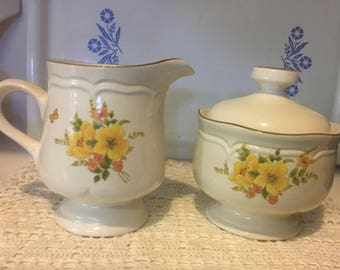 Sangostone Creamer Pitcher and Sugar Bowl