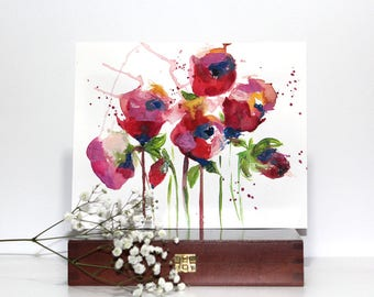Wild Flowers, Watercolour Painting, Original Artwork, Floral, Acrylic art, Small art