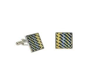 Mosaic square cufflinks
