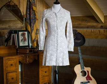 Vintage 1960's cream lace mini dress