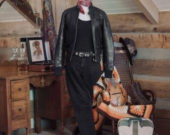 Vintage leather patchwork bomber jacket