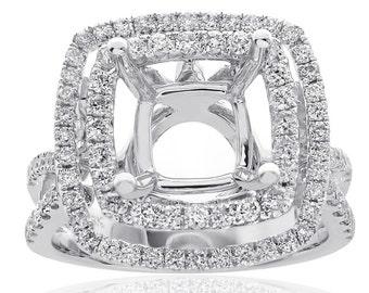 1.00 Carat Diamond Engagement Ring 18K White Gold Mount Setting