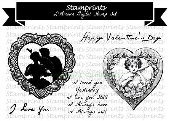 Digital Stamp Set - L'Amour (by Stamprints).Printable Vintage Image.Sentiments.PaperCrafts.Altered Art. Mixed Media