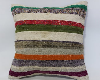 20x20 Handwoven Turkish Kilim Pillow 20x20 Bohemian Kilim Pillow Throw Pillow Ethnic Pillow Cushion Cover SP5050-1406