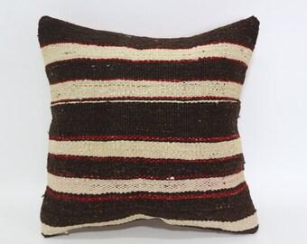 Striped Kilim Pillow Throw Pillow Ethnic Pillow 16x16 Handwoven Kilim Pillow Fllor Pillow Anatolian Pillow Cushion Cover  SP4040-2060