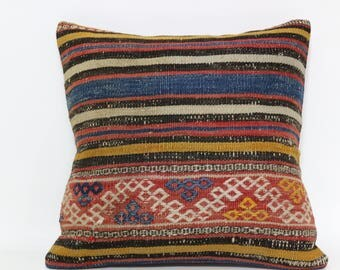Floor Pillow Ethnic Pillow Turkish Pillow 16x16 Handmade Turkish Kilim Pillow Sofa Pillow Ethnic Pillow Anatolian Pillow SP4040-2365