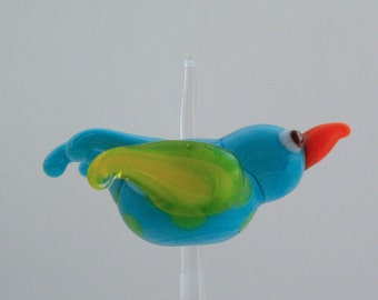 Glass Bird Bead Flameworked Lampworked Aqua with Yellow Wings
