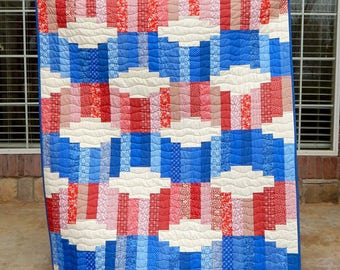 Red White and Blue Quilt, Patriotic Quilt, Modern Lap Quilt, Flag,  Americana, Quilts for Sale, Handmade Quilt, 4th of July
