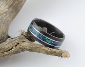 Black Oak, Malachite, Lapis Lazuli and Stainless Steel Bentwood Ring