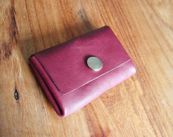 Plum leather origami coin purse
