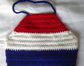 Patriotic Halter Crop Top - Girls - Kids - Summer - Fourth of July - Red - White - Blue - American Flag Colors - Baby Shower Gift - Gift