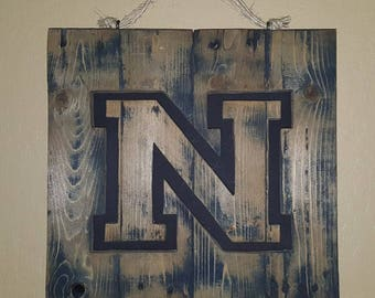 Rustic floating letter made from reclaimed wood - wall hanging