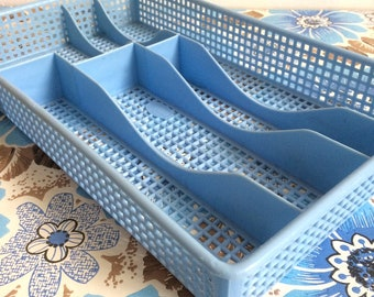 Vintage Baby Blue Plastic Cutlery Tray made by Addis in England