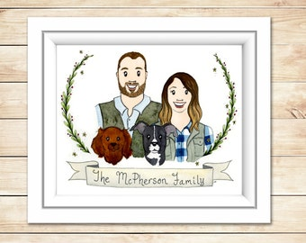 Custom Watercolor Portrait Unique Birthday Gift Family Painting Original Illustration Family illustration Couple Gift Newlywed Wedding Gift