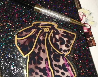 DOUBLE SIDED Leopard Print Bow Laminate Page Marker