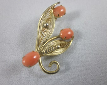 Vintage 14K Gold Filled Coral Brooch Pin