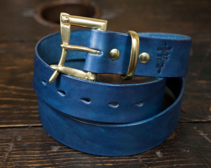"1.5"" Blue Leather Belt Navy Leather Belt Indigo Dyed Full Grain Leather Brass Firefighter Quick Release Belt Made to Order Los Angeles USA"