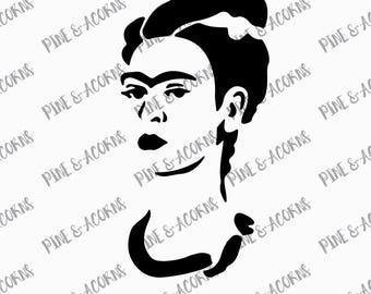 Frida Kahlo Stencil svg, png, eps, dxf file, cut files, digital download