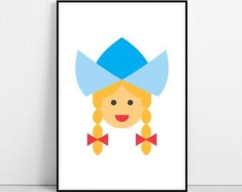Dutch Girl Print, Hollander Woman, Printable Large Poster, Illustration Kids Room, Nursery Wall Art Decor, Dutchwoman, Instant Download