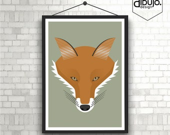 Minimalist Pop Art Fox Print