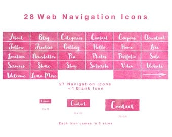 28 Web Navigation Icons in Watercolour Crimson - PNG files, Instant Download