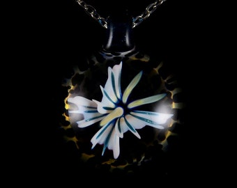 Hand Blown Borosilicate Solid Glass Compression Pendant Necklace in Tattered Butterfly