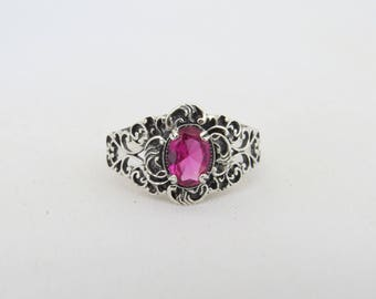 Vintage Sterling Silver Oval Cut Ruby Filigree Ring Size 8