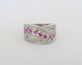 Vintage Sterling Silver Ruby & White Topaz Ring Size 6.25