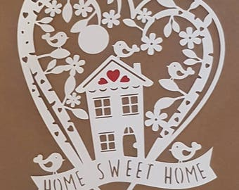 Home sweet home papercut, papercutting, New home gift, housewarming gift, Home is where the heart is papercut, birds,hearts, house.